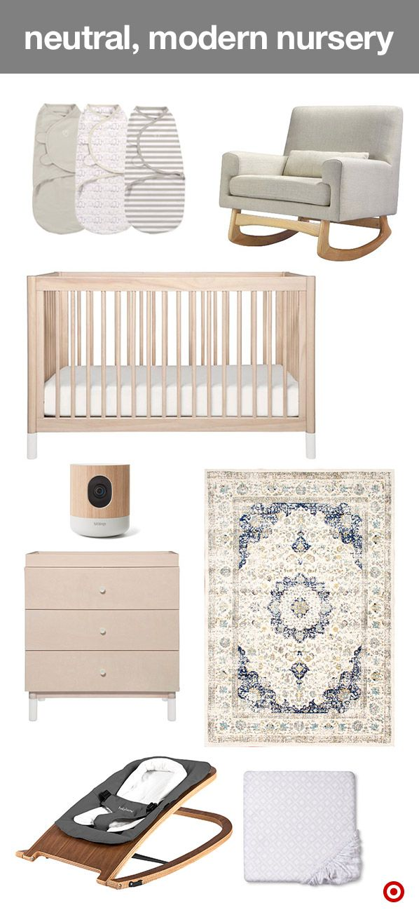 Create a gender neutral nursery with the Babyletto Gelato collection. It features a washed natural finish, clean lines and a modern touch. The 4-in-1 convertible crib grows with your child, and the 3-drawer dresser perfectly holds all Baby's essentials. Add a soft area rug and a comfy rocker for all those snuggle sessions. SwaddleMe swaddles keep baby wrapped in warmth, Circo crib sheets come in loads of colors and patterns, and the Withings monitor lets you keep an eye on your little one.