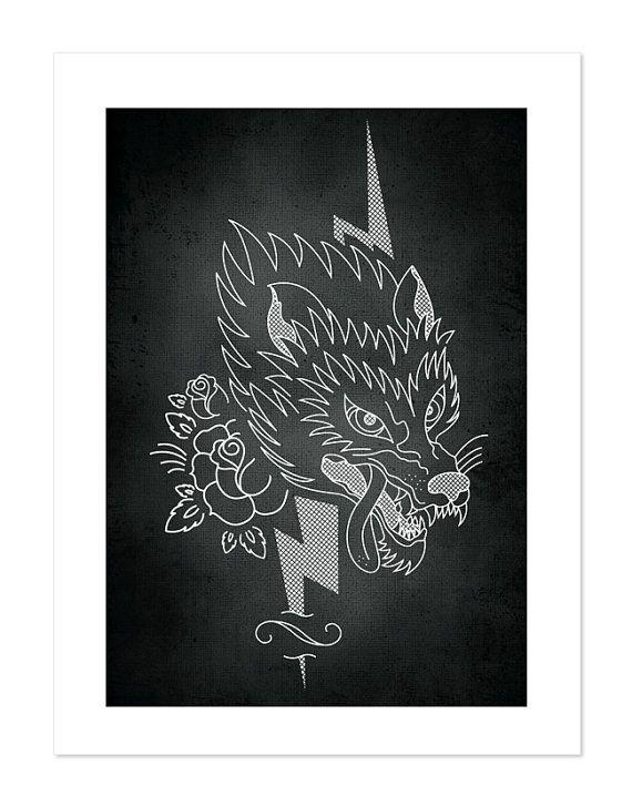 Wolf – Tattoobular Line Design Series, Neo-Traditional Tattoo Flash, Old School, Art Print 12x16