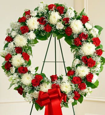 Red & White Standing Funeral Wreath
