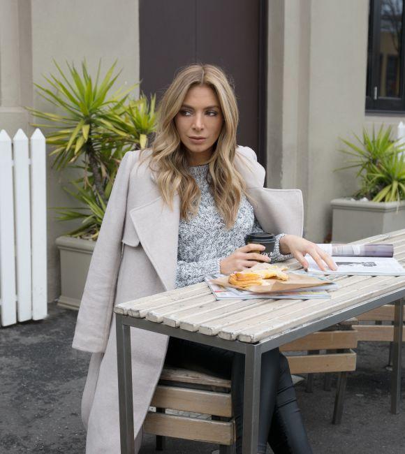 Nadia Bartel wears #seedheritage Tailored Long Coat via chroniclesofnadia.com.au.