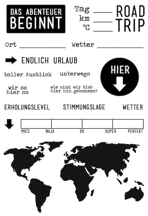 "#dpMonatsstempel AddOn zum #dpJulikit15 von www.danipeuss.de | Klartext Stempel ""Roadtrip"""