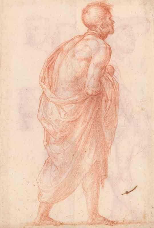 Fra Bartolommeo. Naar rechts lopende man, studie voor een bijfiguur in het schilderij 'Madonna della Misericordia'. (1473-1517) circa 1515. 28,7 x 19,7 cm. Tekening rood krijt, op lichtgrijs geprepareerd papier.  Museum Boijmans Van Beuningen (Collectie Koenings).