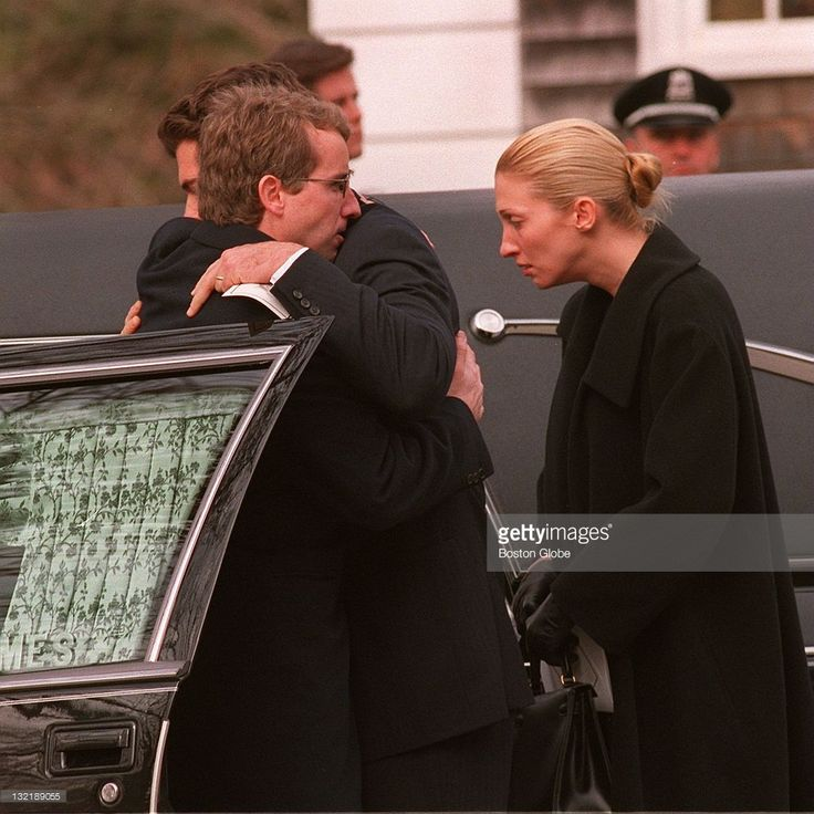 John Kennedy Jr hugs Chris Kennedy outside the hearse carrying the... News Photo   Getty Images