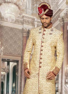 1418f34cba Cream Dupioni Silk Designer Sherwani 618049 | Sherwani in 2019 ...