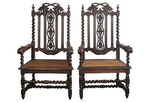 1920s French Carved Armchairs, Pair