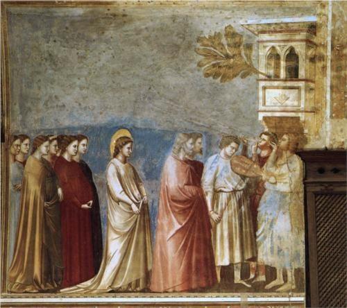 The Virgin's Wedding Procession - Giotto.  c.1305.  Fresco.  200 x 185 cm.  Scrovegni (Arena) Chapel, Padua, Italy.