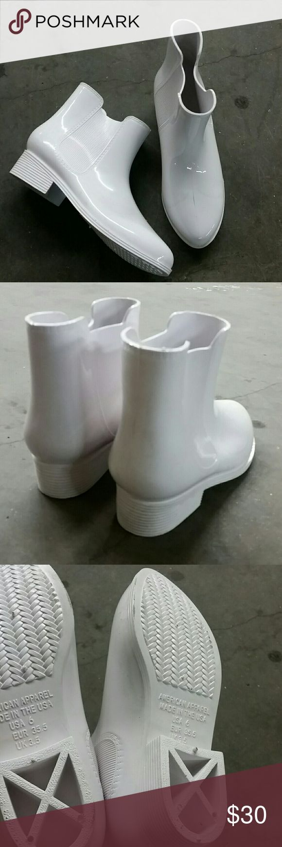 American Apparel rain boot NEW American Apparel rain boot , a little above the ankle. Extremely comfortable!  Super cute! Never worn! Made in USA / No trades /color is white American Apparel Shoes Ankle Boots & Booties