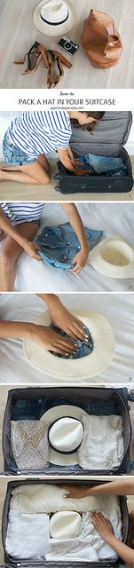 Packing a hat in your suitcase www.apairandasparediy.com by apairandaspare, via Flickr