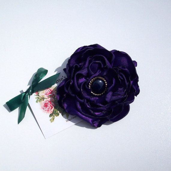 Wedding purple satin flower brooch / fascinator with pin / clip. limited ed. handmade goth emo Approx: 3.15 inch / 8 cm across FREE SHIPPING £14.99 GBP