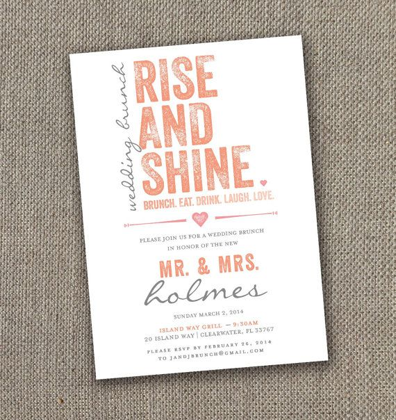 Rise and Shine- Wedding Brunch Invitation. DIY The Day After the Wedding Invite!