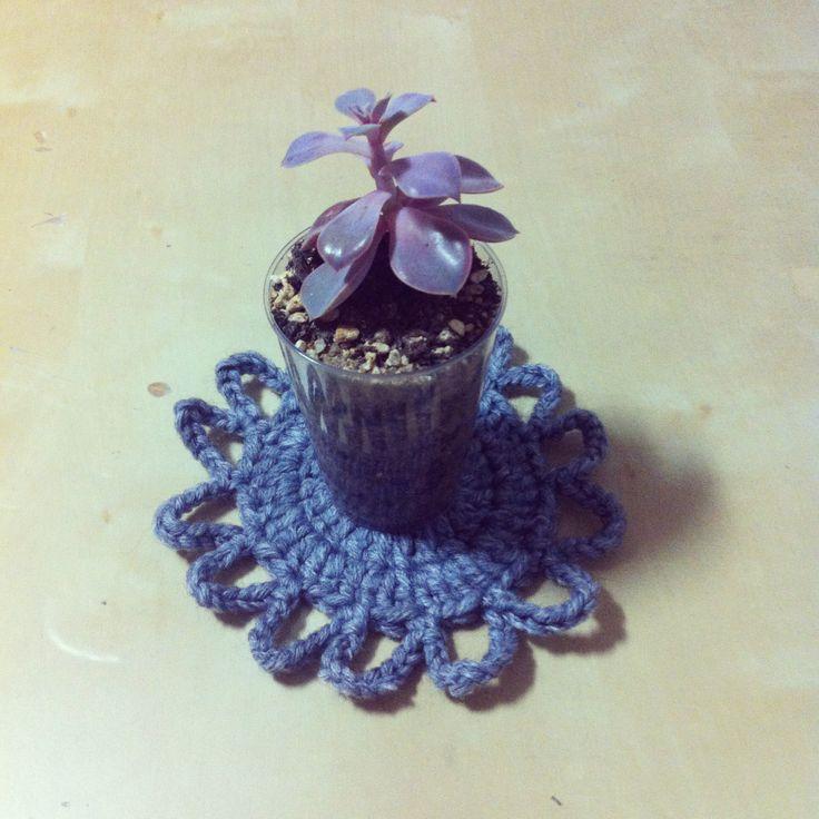 Flower shape crochet coaster!! I'm crochet beginner. I want to become good at it!   #crochet #coaster #flower #handmade #succulent