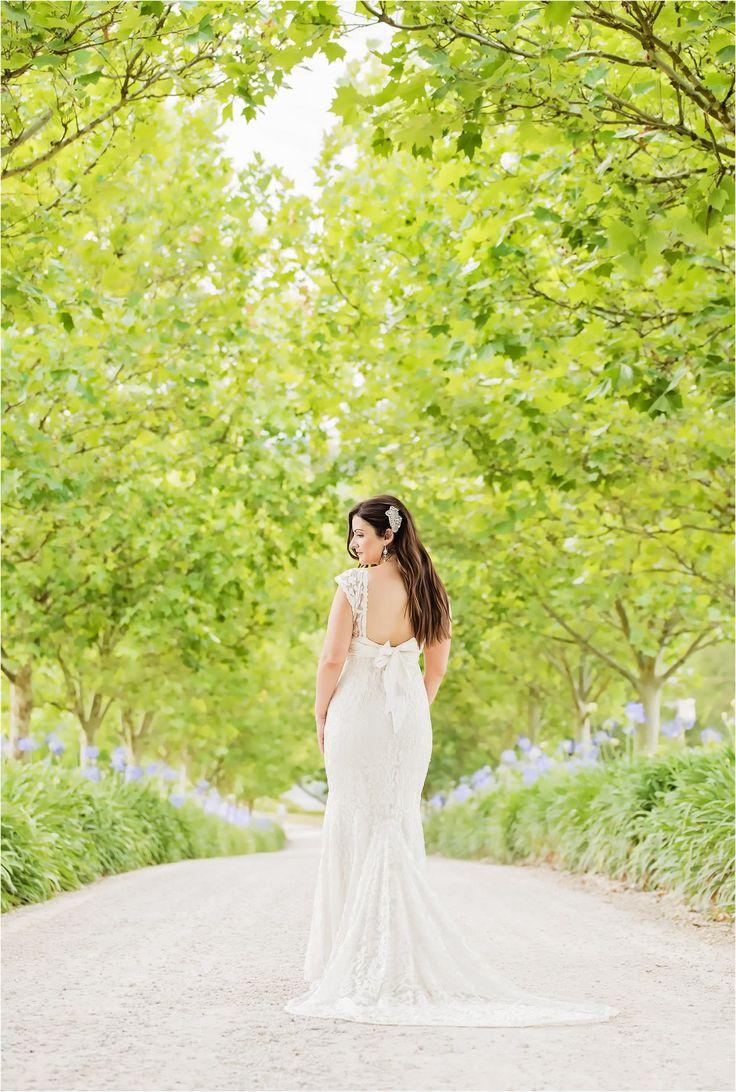 Beautiful bride, winery wedding at K1 Hardy, South Australia - Adelaide, just married, outdoor, elegant, back of dress, majestic driveway, vineyard, photography, wedding photography - www.gpix.com.au.