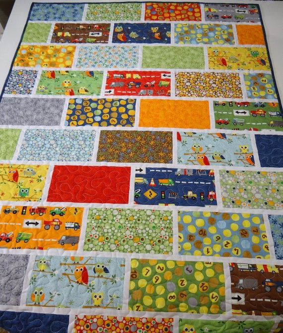 Ten Little Things Baby/Toddler Boy Quilt by NowandThenQuilts, $169.00