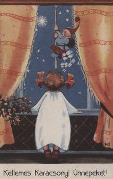 Régi magyar karácsonyi üdvözlőlap Pajor Klára gyűjteményéből