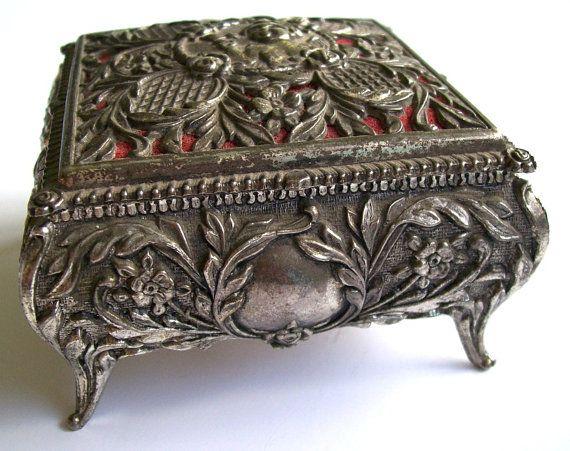 Vintage Trinket Box Silvertone Metal Floral Design Mine