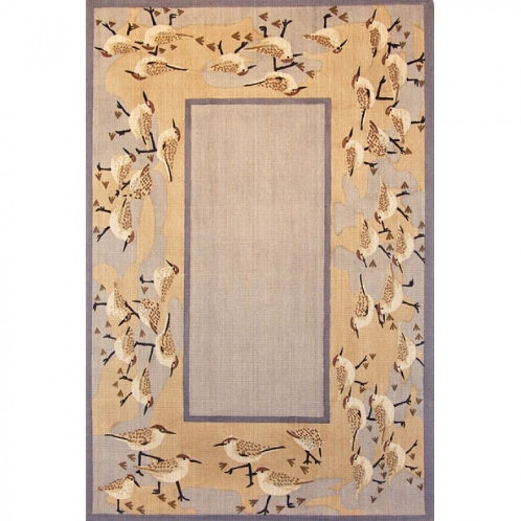 Classic Home Novelty Hand Stencilled Jute Sandpippers Contemporary Rug - 3007993X