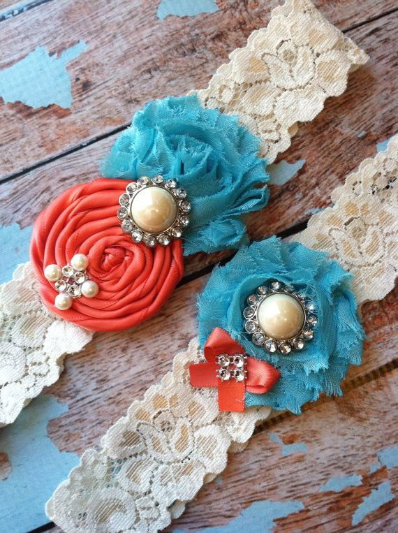 Wedding garter / coral and turquoise by FallenStarCoutureInc