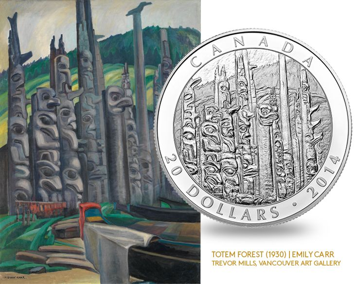 Emily Carr (1871-1945) discovered towering totem poles as she explored British Columbia's coast. 2014 $20 Fine Silver Coin - Celebrating Emily Carr