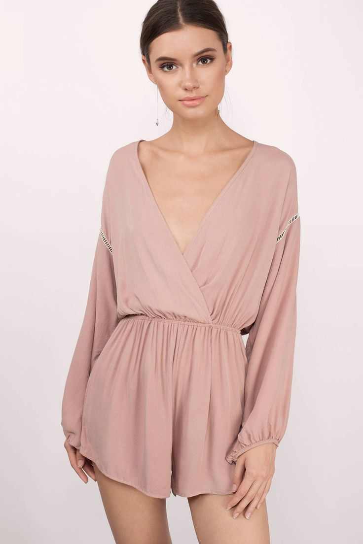 This rose pink plunging long sleeve romper is the perfect day out romper!