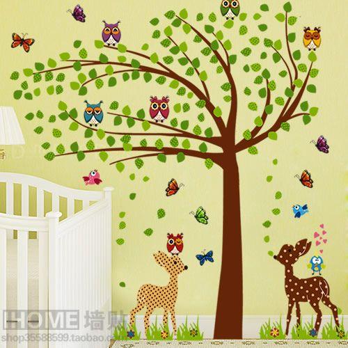 Verwijderbare muurstickers boom herten cartoon kinderkamer slaapkamer TV achtergrond stickers wandkleden