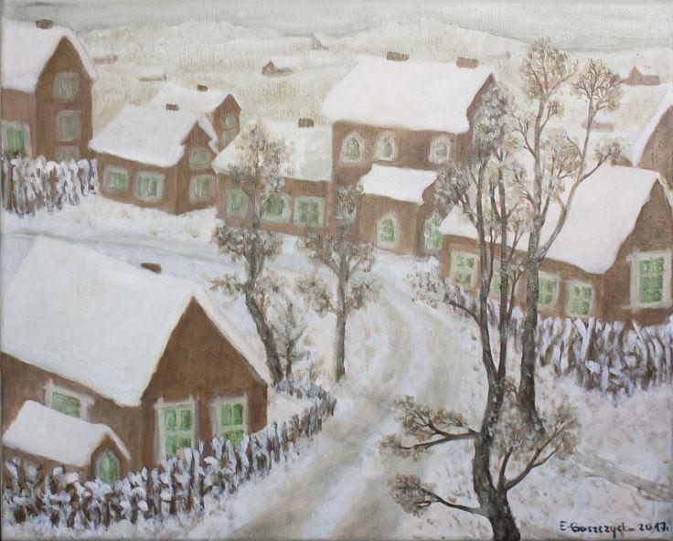 Zima wygląda najładniej na obrazkach. Na żywo szczypie w twarz, ziębi w dłonie, stopy i uszy.  Obraz olejny na płótnie, 50 x 40 cm. Tytuł: Zimowe popołudnie. Sygnowany w prawym dolnym rogu, boki zamalowane na jasną, bladą zieleń (stonowany odcień).  Inspirowany pejzażami południa Polski.