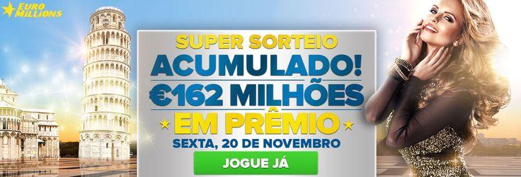 Hoje (20/11/2015) a #loteria Euromilhões da Europa terá seu maior prêmio do ano: 162 milhões de euros e você pode jogar online no www.grandesloterias.com