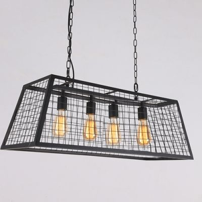 31 w industrial 4 light large pendent with lattice shade