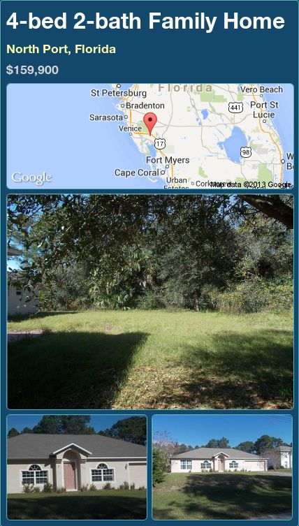 4-bed 2-bath Family Home in North Port, Florida ►$159,900 #PropertyForSale #RealEstate #Florida http://florida-magic.com/properties/91495-family-home-for-sale-in-north-port-florida-with-4-bedroom-2-bathroom