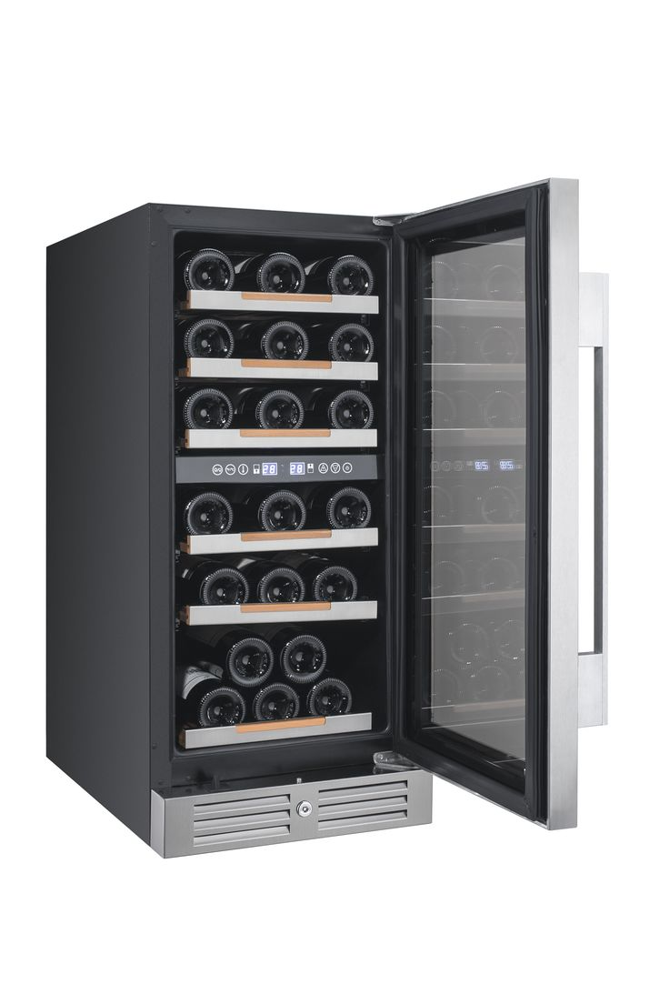 "CAVAVIN  |  28 Bottle Wine Cooler •	Built-in or freestanding installation •	Dual zone (red & white wine) •	Top: 5-13°C (40-56°F) | Bottom: 12-18°C (54-65°F) •	Transition LED lighting (as door opens) with on/off switch • All wood 100% extension shelves with stainless steel trims •	2 handle choices included (PRO & DESIGN) •	4"" stainless steel kickplate mounted with security lock"