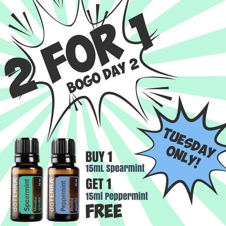 Check out BOGO Day #2 my friends! Is dōTERRA showing us the love or what?!?!  Buy Spearmint ($29) get Peppermint ($20.50) FREE! . Here is a list of just a FEW ways you can use Spearmint! .  Soothes headaches and reduces fever. Its sweet refreshing aroma is cleansing and uplifting making it ideal to evoke a sense of focus and positive mood. Spearmint is also a great choice if you are feeling stressed and nervous. Spearmint promotes digestion and helps reduce occasional stomach upset with just…