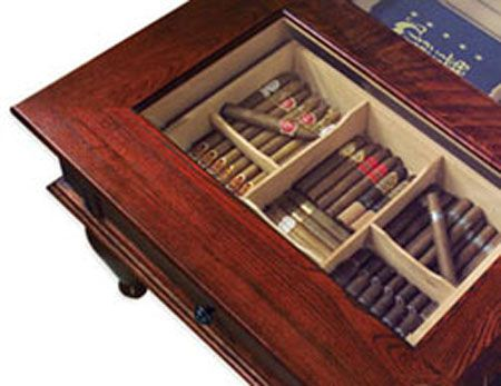 Top view of coffee table humidor. This humidor holds 400 cigars and sits in your living room! Click the picture to read the review.