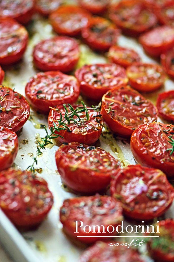 Tomates cerises confites au four à conserver dans l'huile - - La pancia del lupo: Pomodorini confit
