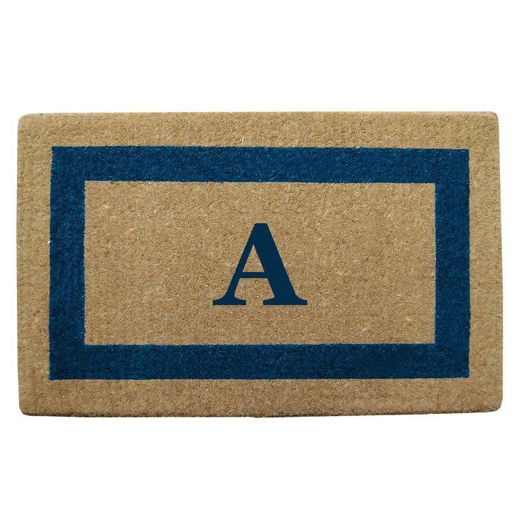 Enterprises Heavy Duty Coir Monogrammed Frame Blue Door Mat (22 in. x 36 in. Blue - Monogrammed A), Brown, Size 22 x 36