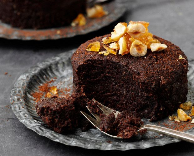 Chocolate Hazelnut Puddings with Orange Praline