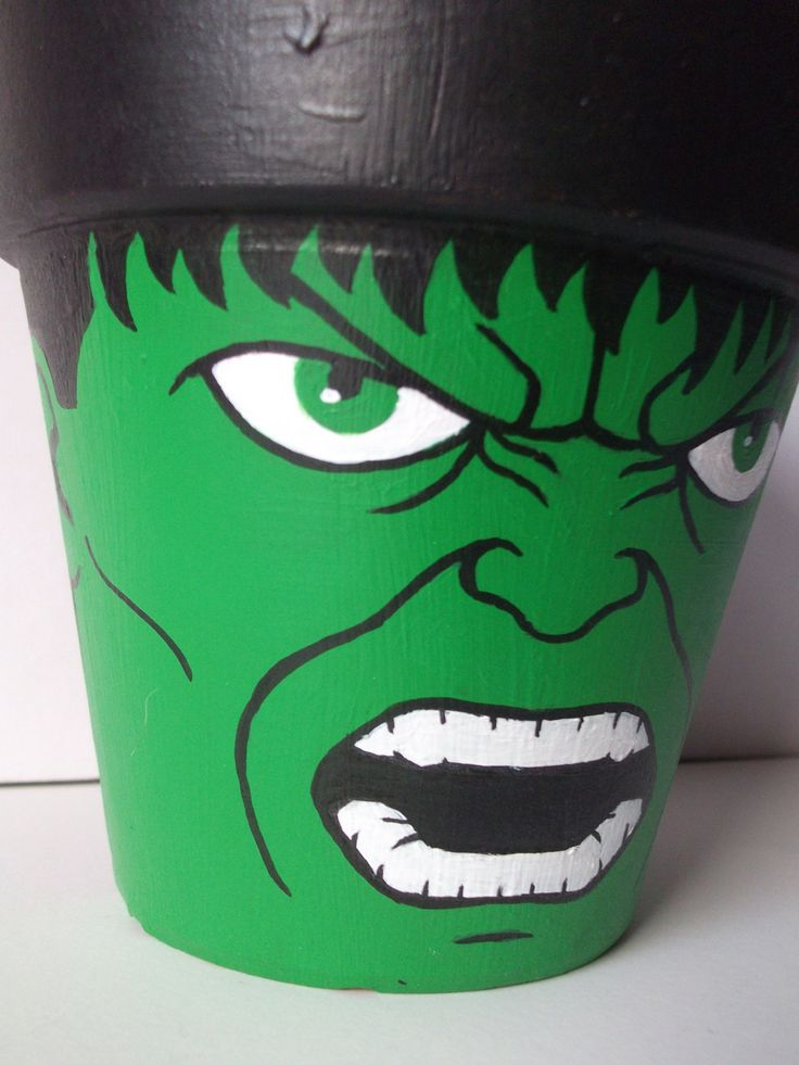 Incredible+Hulk+Avengers+Painted+Flower+Pot+by+GingerPots+on+Etsy,+$16.00
