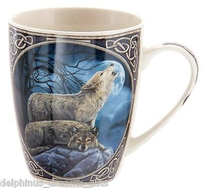 Beautiful Howling Wolf design mug Either side of the mug is a stunning pair of wolves the image sits in a Celtic knot frame the handle of the mug is