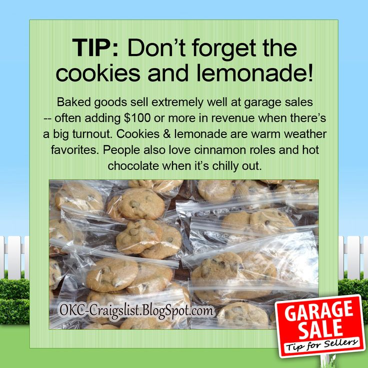 GARAGE SALE TIP: Selling baked goods at your garage sale could add an extra $100 or more to your final sales.