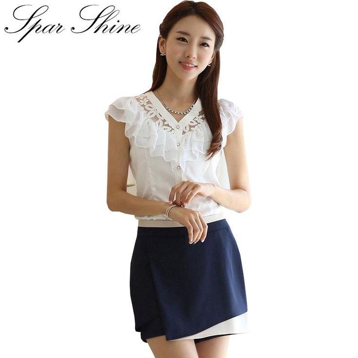 2016 Fashion Summer Women Blouse Elegant Butterfly Sleeve Crochet Lace Chiffon Shirt Women Tops Office Shirt Plus Size Blusas