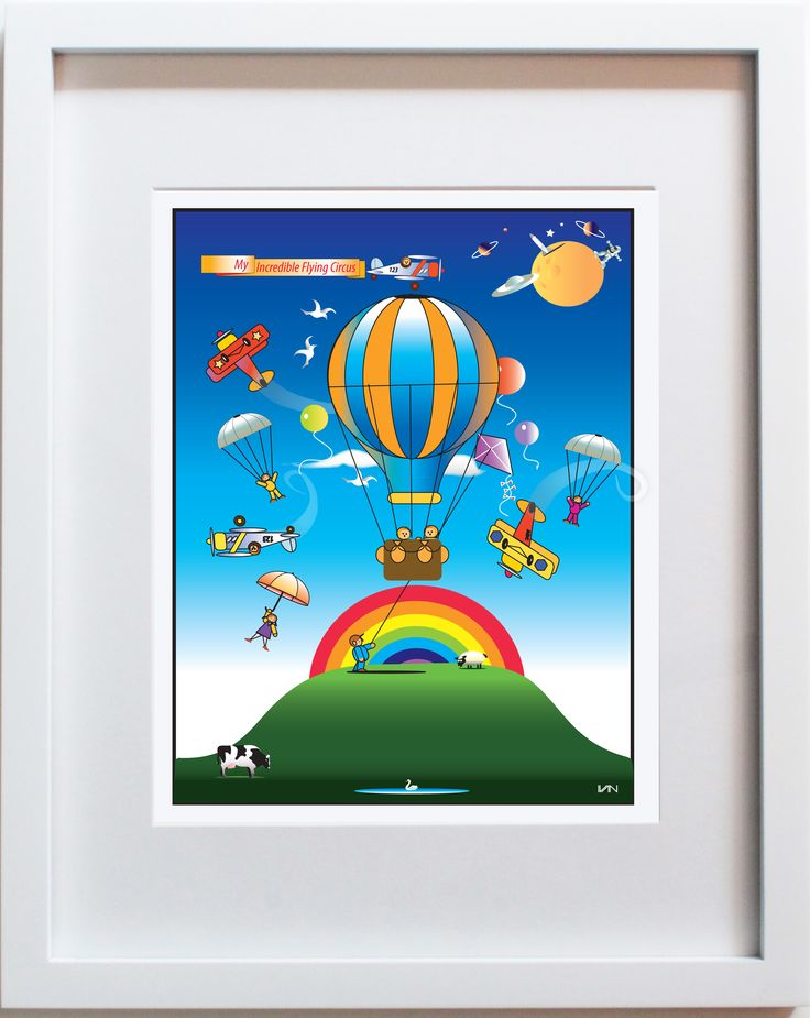 Flying Circus original nursery and kids room decor. Can be personalized on our website. Also available in a smaller 8x10in frame on our website.