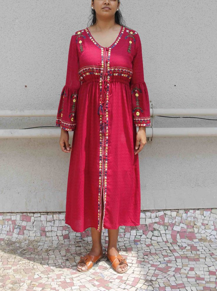 Red wine Embroidered Cotton Dress