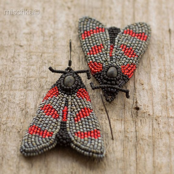Bead Embroidered Earrings The Six-spot Burnet by beadedmischka