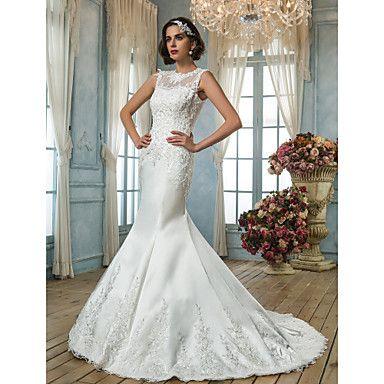 judiciaires bijou trompette / sirène appliques de train satin robe de mariage - EUR € 146.43