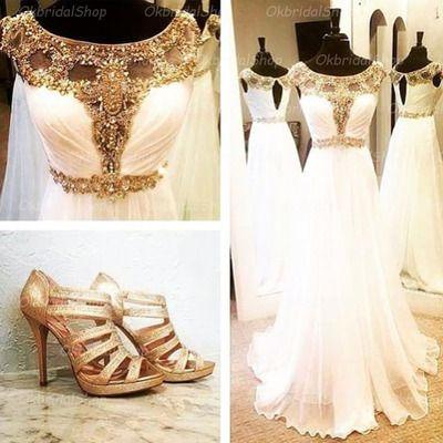 White prom dress, 2016 prom dress, chiffon prom dress, dresses for prom, gorgeous prom dresses