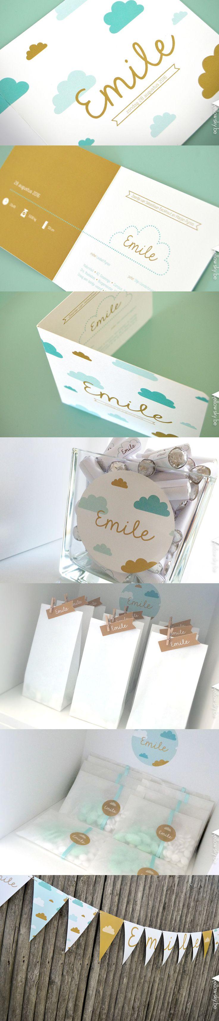 Geboortekaartje voor lieve Emile! Doopsuikers en vlaggenlijn maken het af. Designed by Yellow Sky! #wolkjes #geboorte #jongen #goud