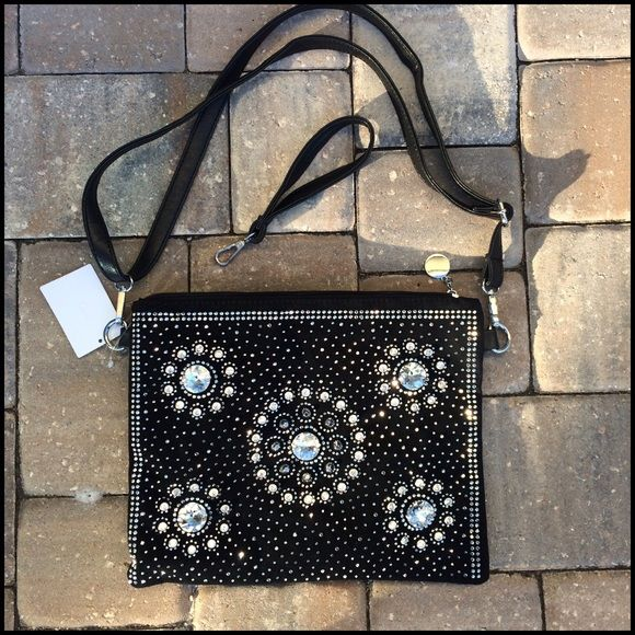 "STUNNIG SUEDE & LEATHER CRYSTAL STUDDED HANDBAG This is so gorgeous, front is covered in multi sized crystals, studded crystals, studs and sewn on stones, back side is beautifully woven, detachable shoulder/crossbody strap, plus additional wristlet style strap included. Fully lined, 2 good sized inside zip compartments, & 2 pouches, silver hard wear, zip top. Black, NWT 12""x10"" J Bags"