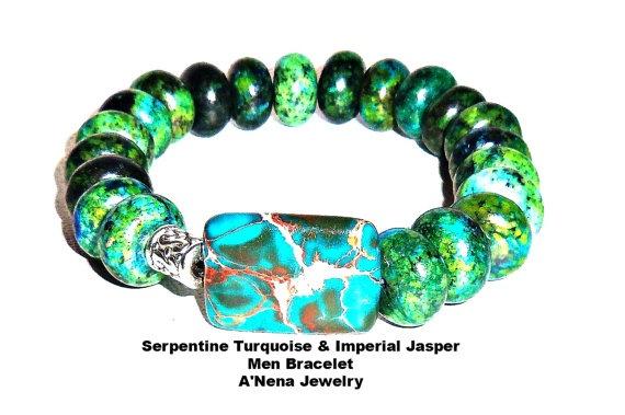 Men's Bracelet  Serpentine Turquoise And  Imperial by ANenaJewelry, $65.00: Jasper Wisdom, Men Bracelets, Century Spin, 23Rd Century, 15Th Century, Imperial Jasper, Turquoise Bracelet
