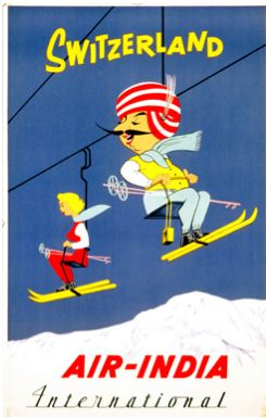 Vintage Travel Poster for Air-India International to Switzerland. Ski Lift Poster.