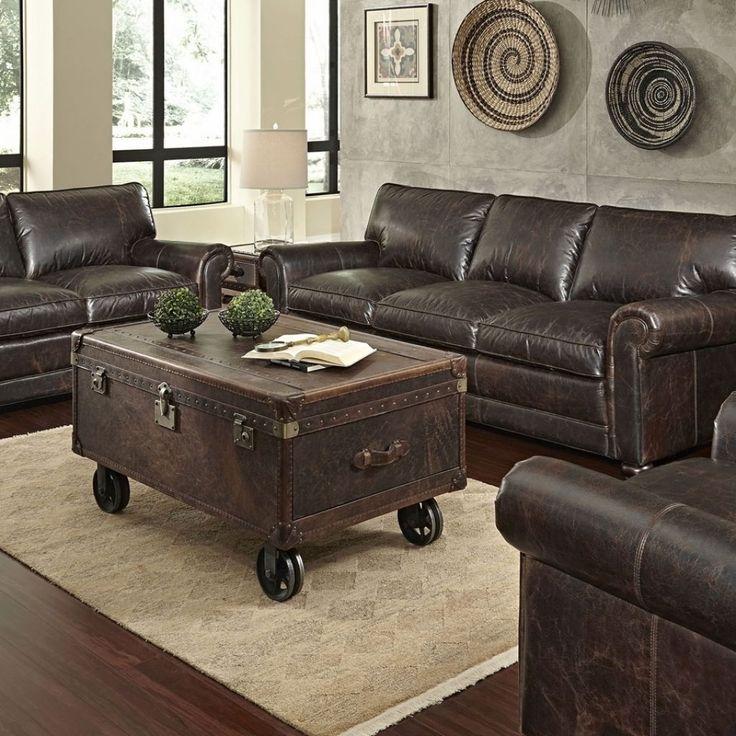 Distressed Leather Sofa Set