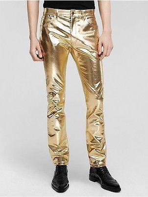 Calvin Klein Mens Foil Laminated Denim Slim Jean
