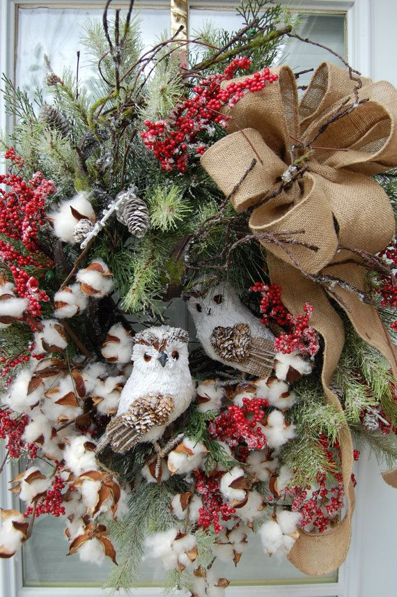 Christmas Wreath by HangingTouches on Etsy, $169.00 I love the little owls on this wreath.